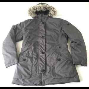 The North Face Womens Large Gray Trench Coat Fur